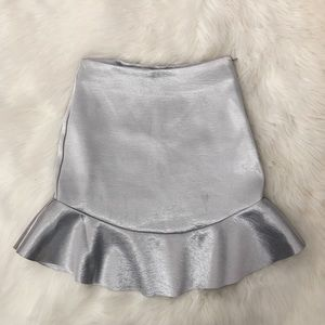 Metallic Silver Mini Skirt with Ruffle Scallop